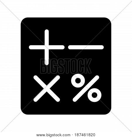 Calculator vector icon. Black and white counting illustration. Solid linear icon. eps 10