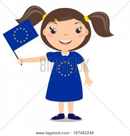 Smiling child, girl, holding a European Union flag isolated on white background. Cartoon mascot. Holiday illustration to the Day of the country, Independence Day, Flag Day.