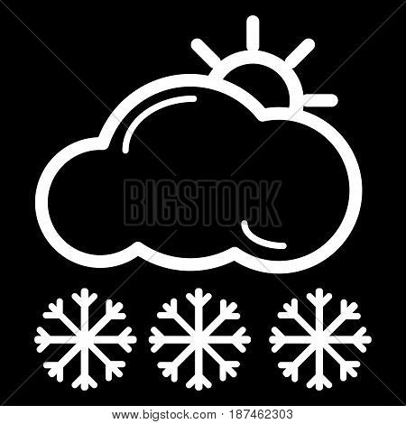 Web icon. Sun, clouds and snow. Vector icon isolated on black. eps 10