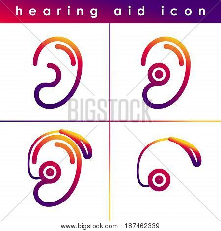 Ear hearing aid deaf problem icons set. Vector symbol isolated on white background. Health problem. Medical sign. Doctor help. Clinic concept. Human disease