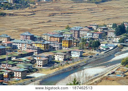 Aerial view of Paro City with colorful houses landscape near a river Paro Bhutan