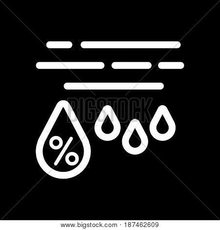 Moisture percentage vector icon. Black and white high humidity illustration. Outline linear weather icon. eps 10