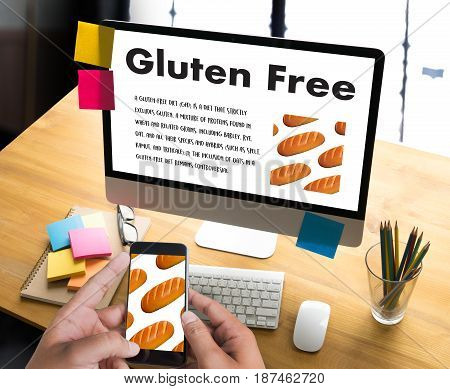 Gluten Free Food  Celiac Disease Nutrition , Healthy Lifestyle Concept With Diet And Fitness , Nutri