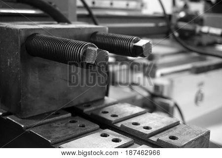 close up part of bending machine tool