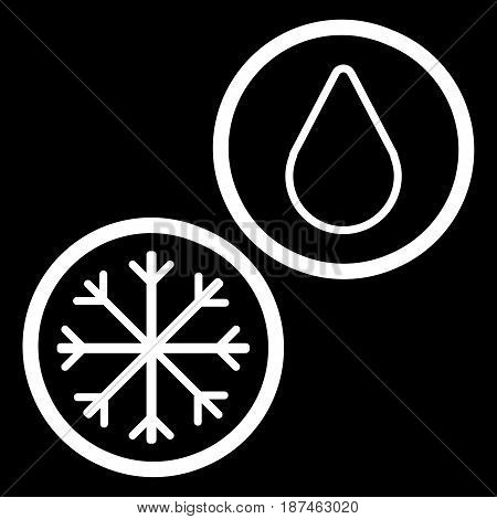 Snowflake and drop vector icon. Black and white snow and rain illustration. Outline linear icon. eps 10