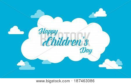 Childrens day with cloud background vector illustration