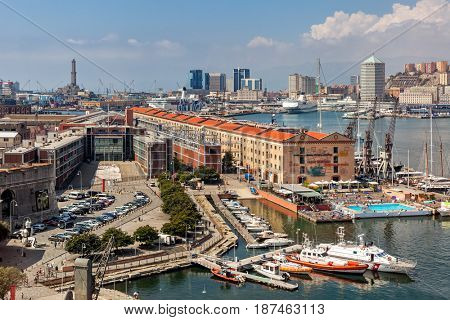 GENOA, ITALY - SEPTEMBER 02, 2016: Port of Genoa - capital of Liguria region, sixth-largest city and second-busiest port in Italy. Old town of Genoa was inscribed on  UNESCO List in 2006.