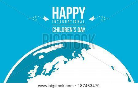 Happy international childrens day background vector illustration