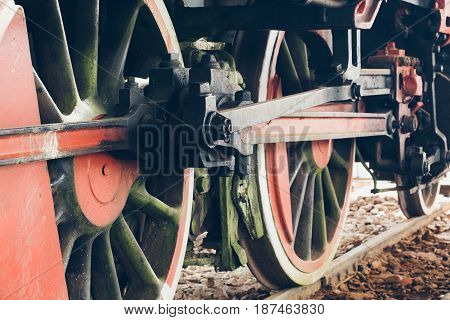 Close Up Of Steam Locomotive Wheels