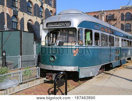 NEW YORK - MAY 21, 2017: Old tram in Red Hook section of Brooklyn. Brooklyn City Street Car Company once operated it