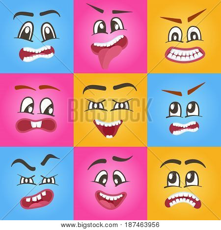 Comic faces vector isolated icons set for web. Happiness, anger, joy, fear, surprise smiley, eyes and mouth. Emoji characters, cartoon cute emoticon collection, emoji characters, smiley faces.