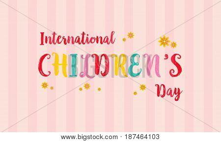 Childrens day colorful background card vector illustration
