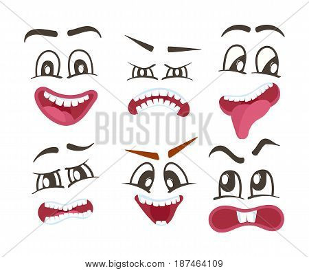 Emoticons or funny smileys icons set. Happiness, anger, joy, fury, sad, playful, fear, surprise smiley, eyes and mouth, funny comic faces. Emoji vector characters set with different expressions