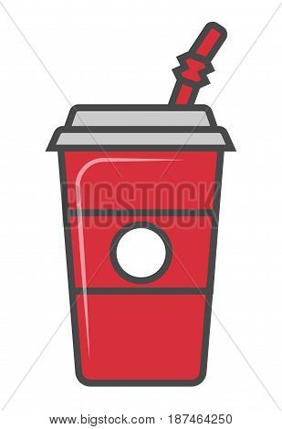 Cola plastic glass with straw vector illustration isolated on white background. Cold drink, soda beverage, cafe or restaurant fast food menu pictogram.