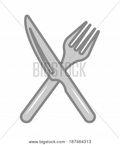 Crossed fork and knife vector illustration isolated on white background. Cutlery symbol, cafe or restaurant menu pictogram.