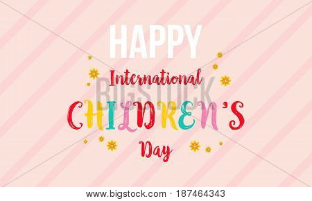 International childrens day colorful background vector art