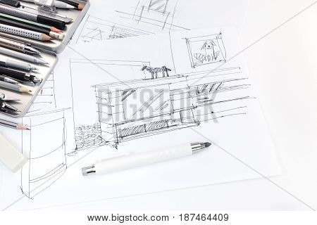 Hand Drawing Sketch Of Interior And Furniture For Living Room With Drawing Tools
