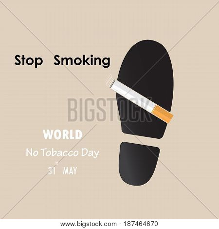 Shoe printsfoot prints and Quit Tobacco sign.May 31st World no tobacco day.No Smoking Day Awareness.Vector illustration.