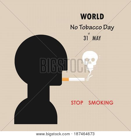 Human head and Quit Tobacco sign.May 31st World no tobacco day.No Smoking Day Awareness.Vector illustration.