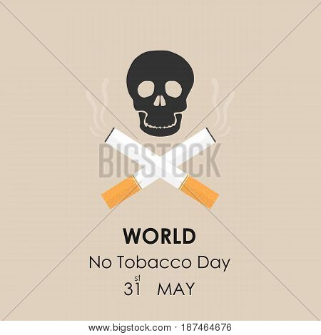 Human skull and Quit Tobacco sign.May 31st World no tobacco day.No Smoking Day Awareness.Vector illustration.