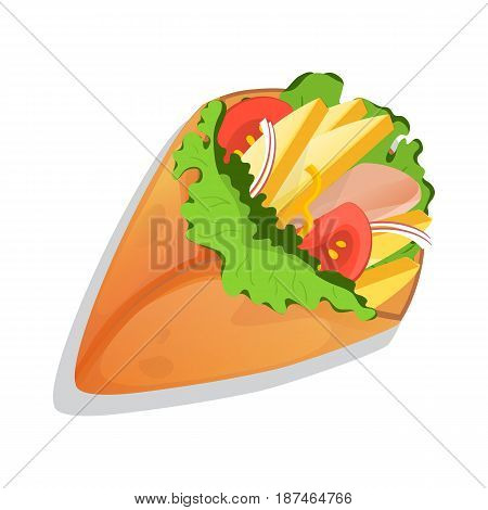 Grilled tortilla icon vector illustration isolated on white background. Cafe or restaurant fast food, mexican snack, top view eating menu pictogram.