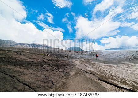 Man take photo Landscape Sky on the Mount Bromo Bromo Tengger Semeru National Parkselective focus