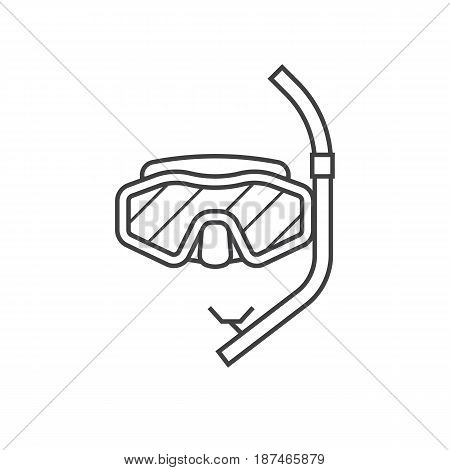 Vector scuba diving mask and snorkel line icon. Snorkeling tube and goggles. Sea swimming appliances in lineart design.