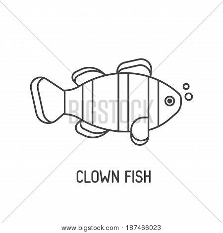 Tropical coral fish vector icon. Striped clown-fish illustration.