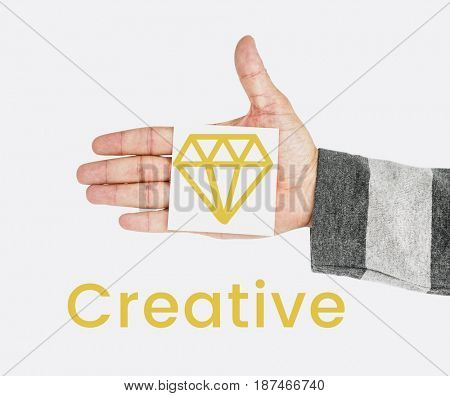 Graphic of creative design with diamond symbol