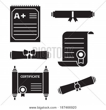Diploma scroll icon set in outline design. Graduation certificate of achievement, test blank and rolled diploma icons. Vector linear illustration.