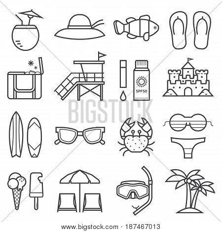 Summer beach icon set. Summertime sea vacation collection in linear style. Sunbathing accessories and beach activity elements. Tropical holidays vector icons in line art design.