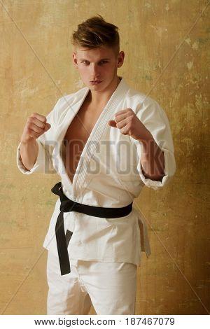 Fighter Or Karate Man In White Kimono