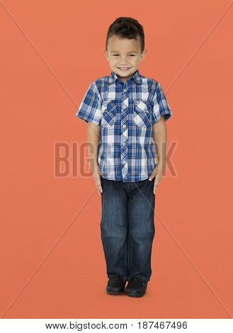 Little Boy Standing Smiling Happy