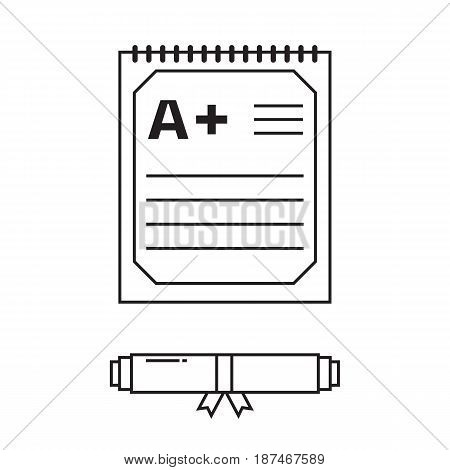 Diploma scroll collection. Unrolled and rolled diploma paper icon with stamp. Graduation test blank with A mark isolated on white.