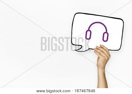 Headset headphone icon graphic with people studio shoot