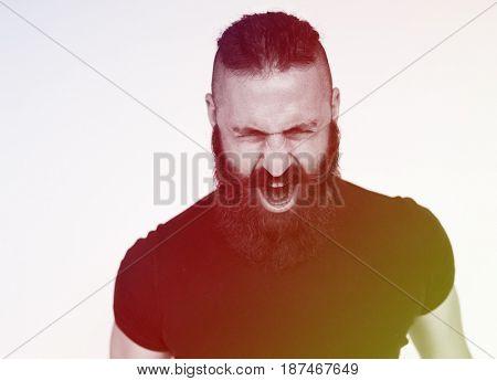 Adult Man Scream Face Expression Emotion Studio