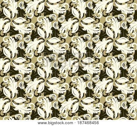 Floral vector ornament. Seamless abstract classic background with flowers. Pattern with repeating elements