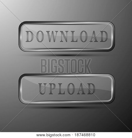Vector illustration of minimalistic gray colored buttons with download and upload words.