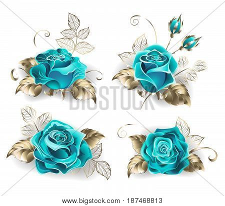 Set of turquoise roses, with leaves of white gold on a white background. Blue tiffany. Fashionable color. Turquoise rose.