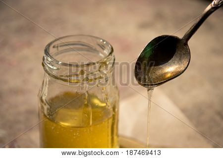 Organic Pure Honey In Jar. Close Up