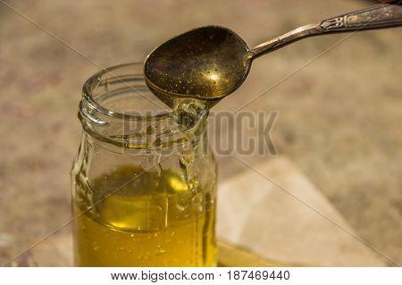 Organic Pure Honey In Jar. Close Up