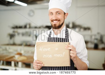 Chef or baker wishing clients to have nice meal