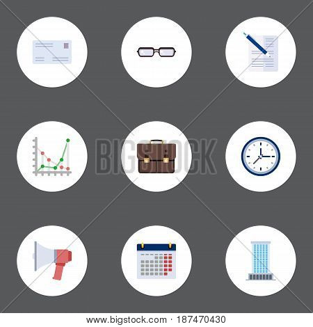 Flat Contract, Calendar, Spectacles And Other Vector Elements. Set Of Business Flat Symbols Also Includes Case, Office, Spectacles Objects.