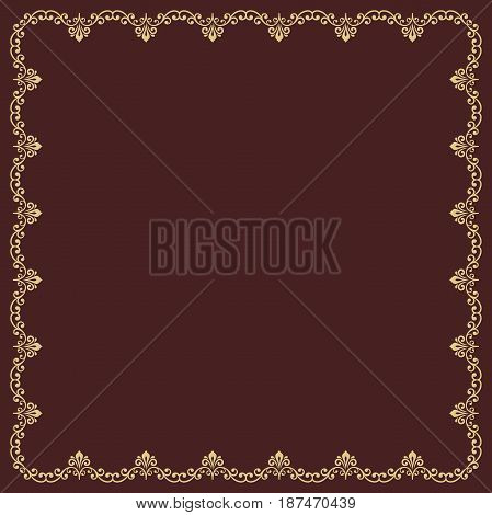 Classic vector square golden frame with arabesques and orient elements. Abstract ornament with place for text. Vintage pattern
