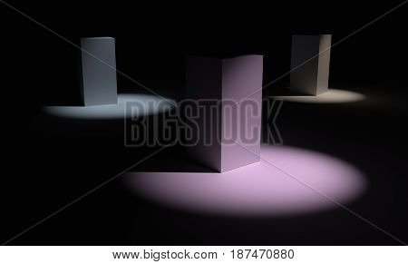 Three colorful abstract 3d cubes over dark background. 3D rendering.