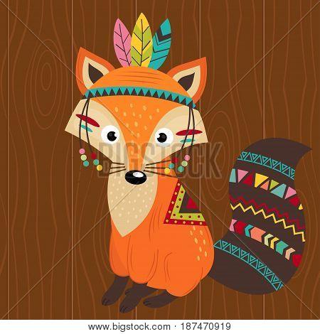 tribal fox on wooden background - vector illustration, eps