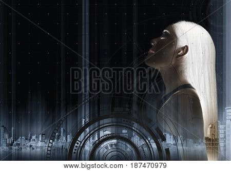 Futuristic beautiful young woman, with technology interface graphic on black background. Beauty, cosmetic, treatment and surgery technology concepts