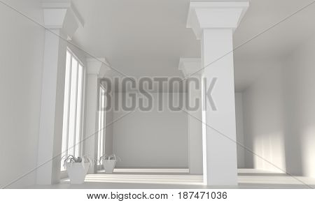 Empty big loft room with white walls and columns. Comfortable office concept. Mock up. 3d rendering.