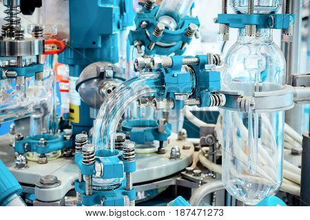 Complex chemical industrial equipment. Abstract industrial background.