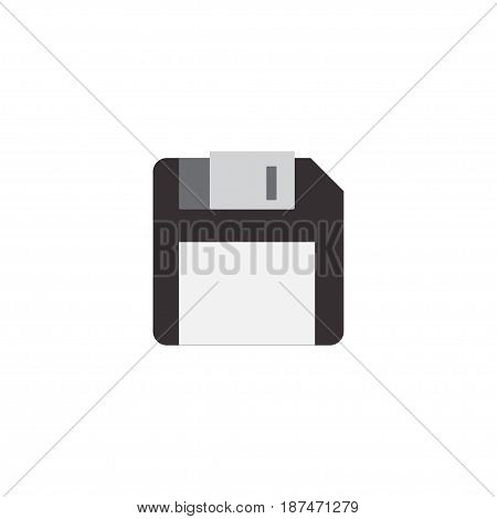 Flat Floppy Disk Element. Vector Illustration Of Flat Diskette Isolated On Clean Background. Can Be Used As Diskette, Floppy And Disk Symbols.